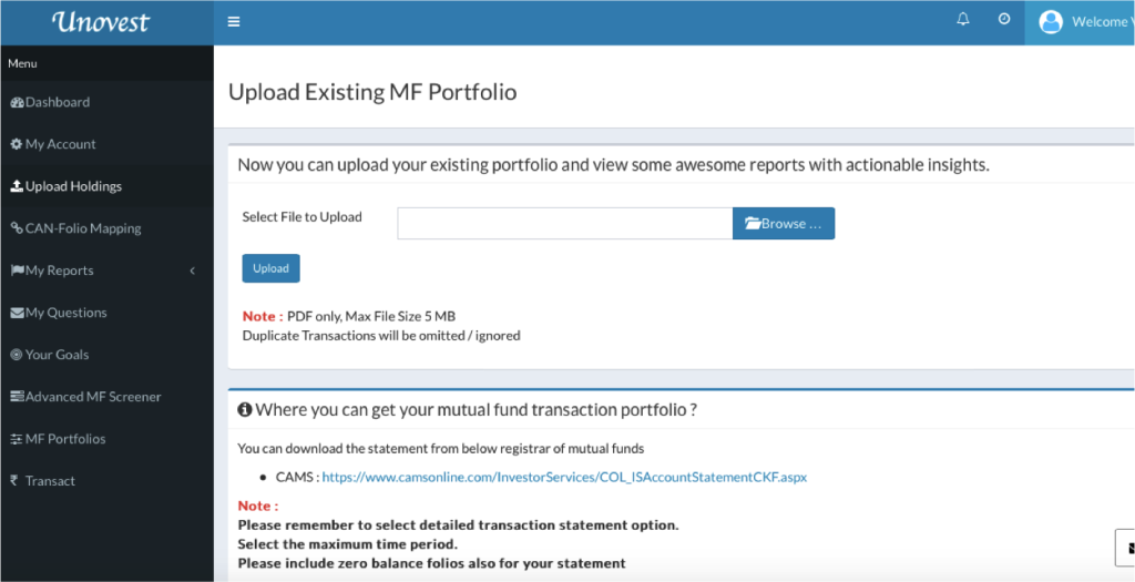 Upload and track mutual funds portfolio on Unovest